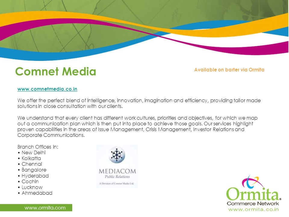 Comnet Media   Available on barter via Ormita