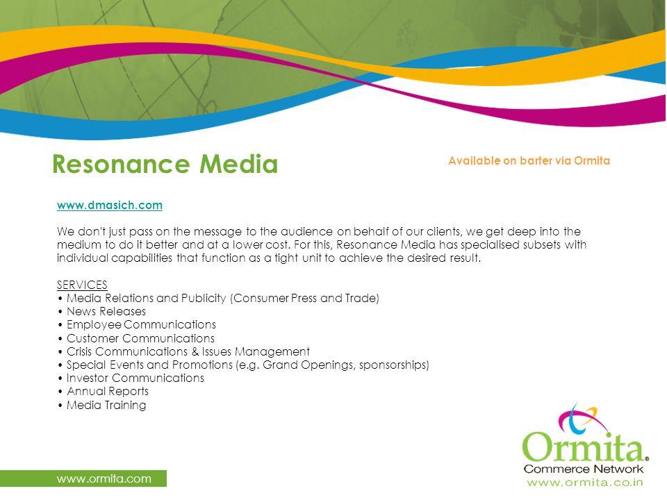 Resonance Media www.ormita.com Available on barter via Ormita