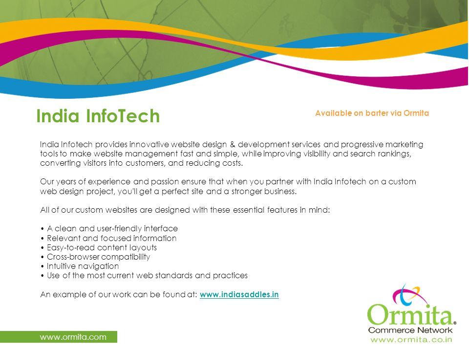 India InfoTech www.ormita.com Available on barter via Ormita