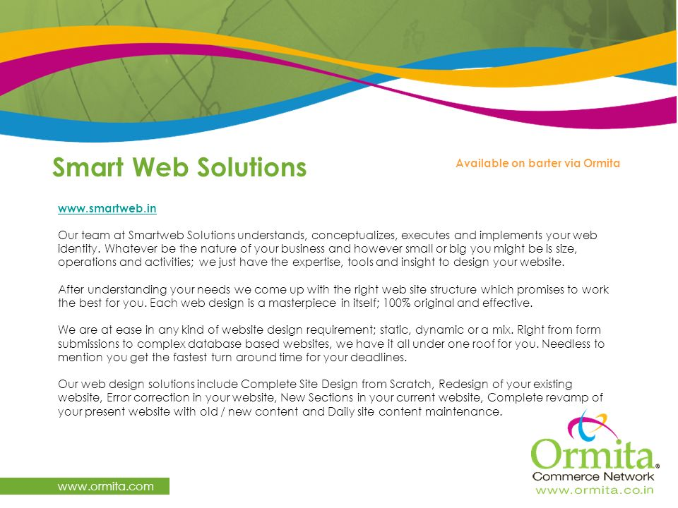 Smart Web Solutions   Available on barter via Ormita