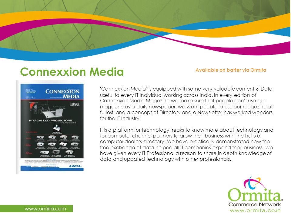 Connexxion Media   Available on barter via Ormita