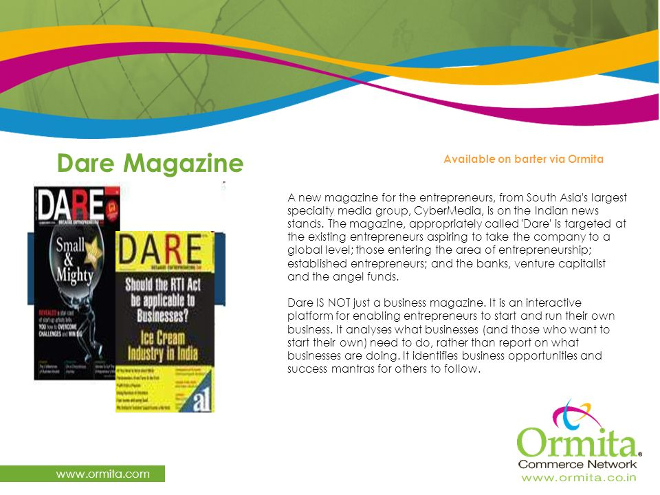 Dare Magazine   Available on barter via Ormita