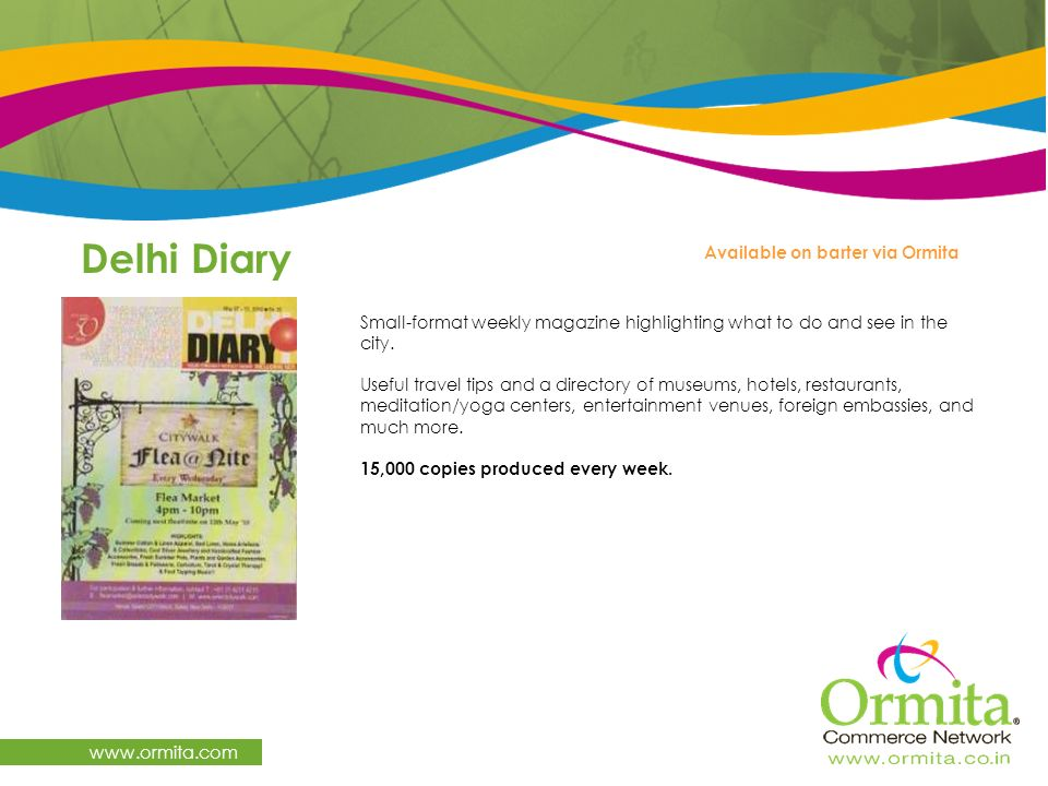 Delhi Diary www.ormita.com Available on barter via Ormita