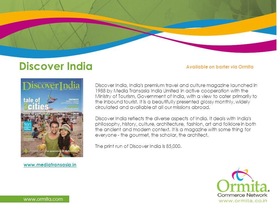 Discover India www.ormita.com Available on barter via Ormita