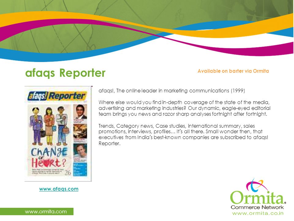 afaqs Reporter www.ormita.com Available on barter via Ormita