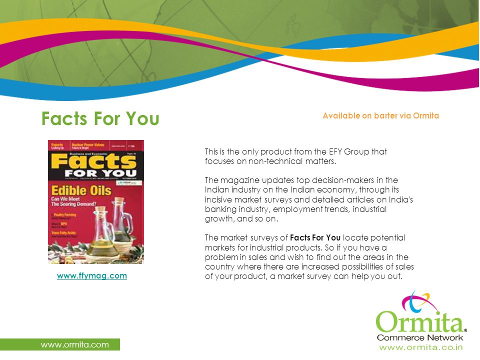 Facts For You www.ormita.com Available on barter via Ormita