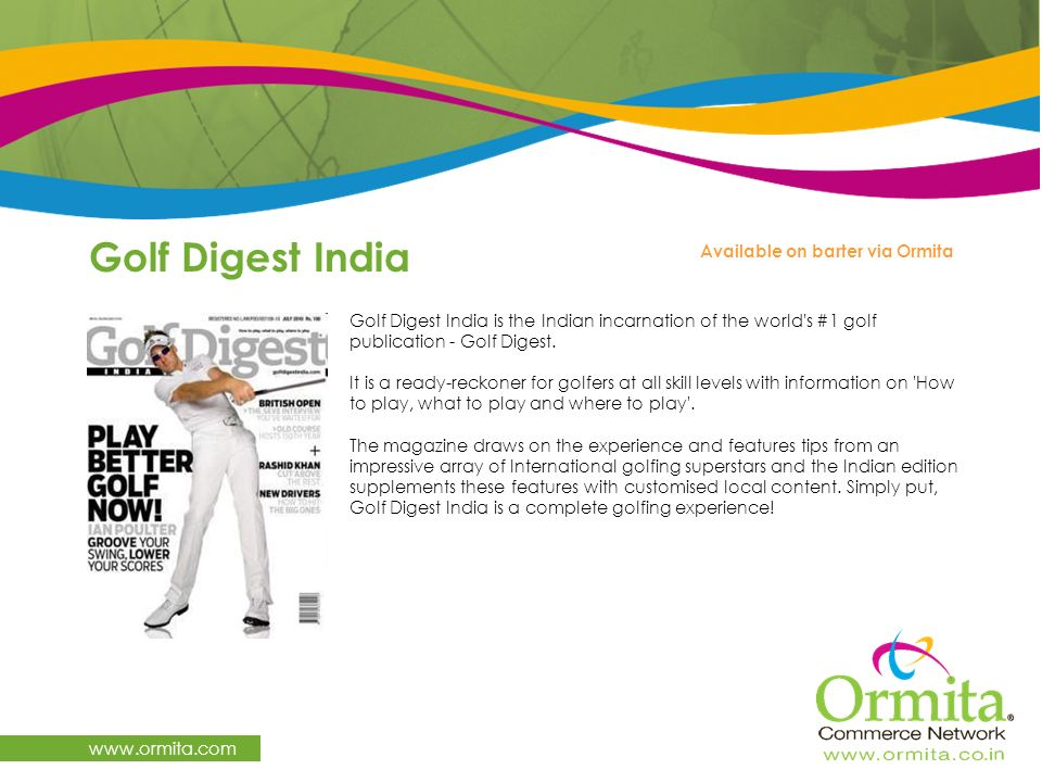Golf Digest India www.ormita.com Available on barter via Ormita