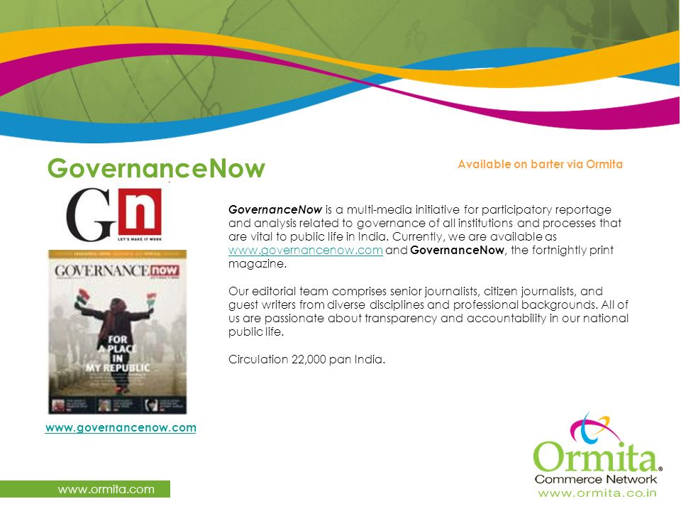 GovernanceNow www.ormita.com Available on barter via Ormita