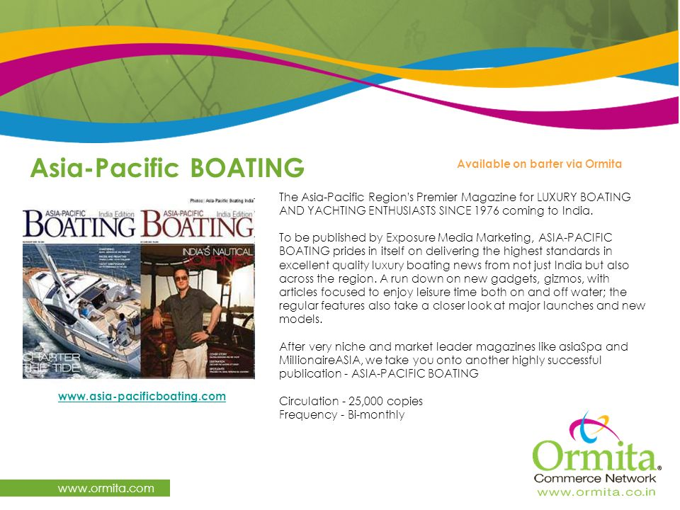 Asia-Pacific BOATING   Available on barter via Ormita