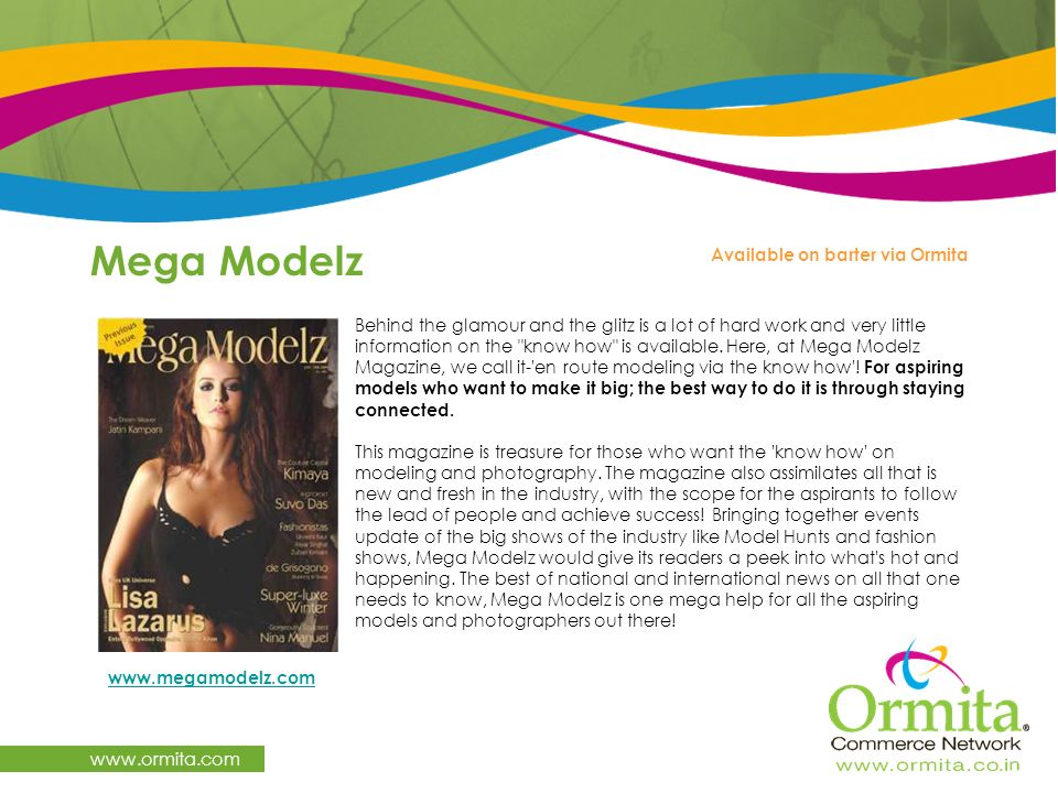 Mega Modelz www.ormita.com Available on barter via Ormita