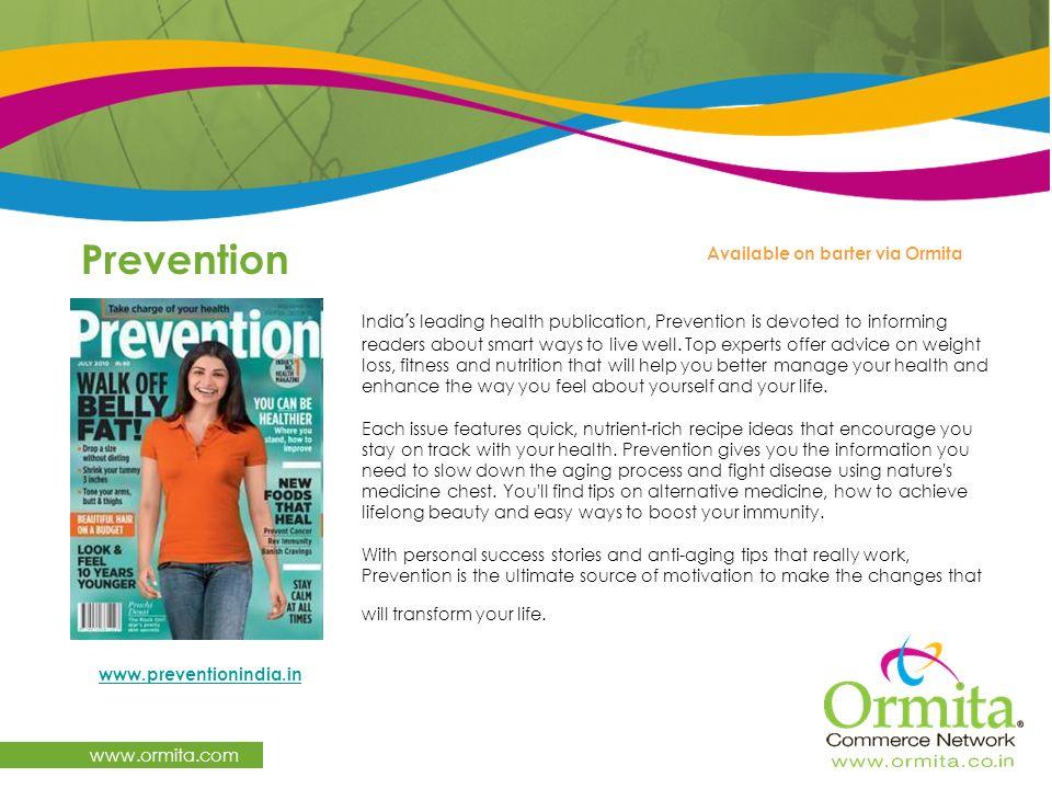 Prevention www.ormita.com Available on barter via Ormita