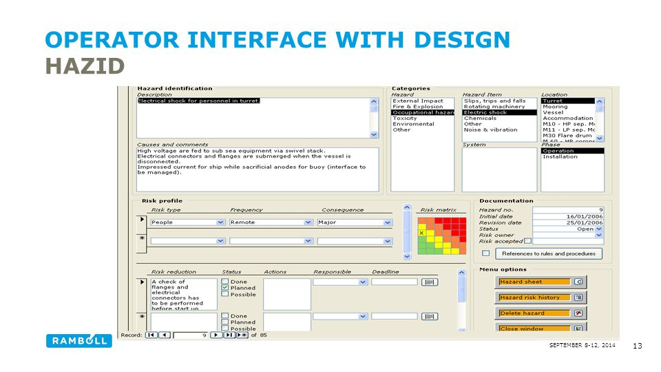 Operator interface with design hazid