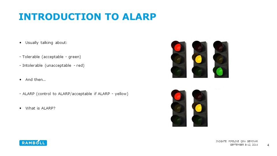 Introduction to ALARP Usually talking about: