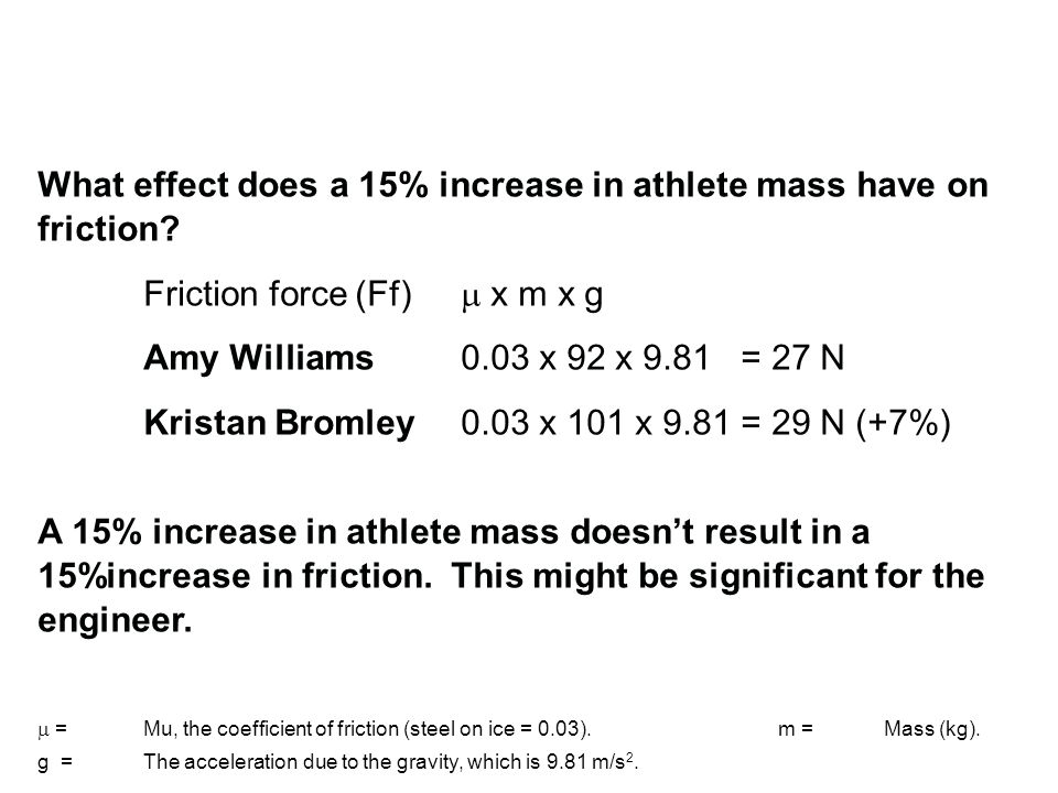 What effect does a 15% increase in athlete mass have on friction