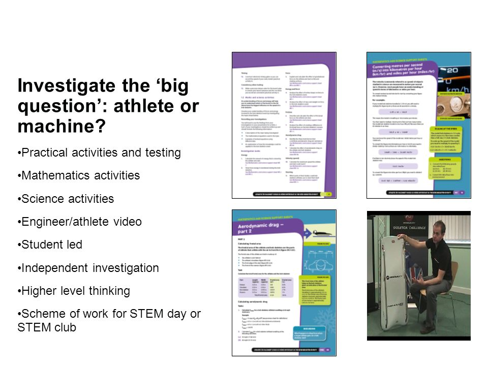 Investigate the 'big question': athlete or machine