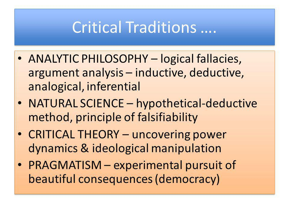 Critical Traditions …. ANALYTIC PHILOSOPHY – logical fallacies, argument analysis – inductive, deductive, analogical, inferential.