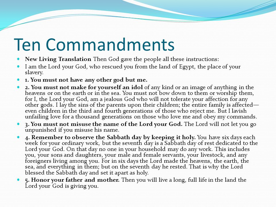 Ten Commandments New Living Translation Then God gave the people all these instructions: