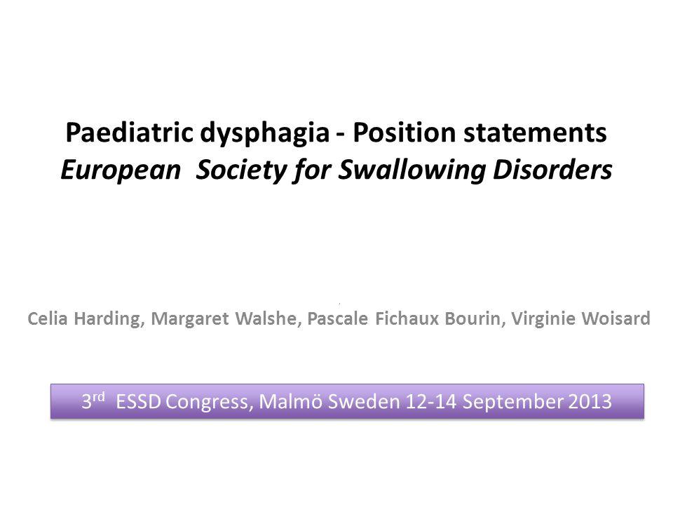 3rd ESSD Congress, Malmö Sweden 12-14 September 2013