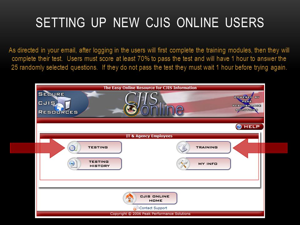 Setting up new CJIS Online users