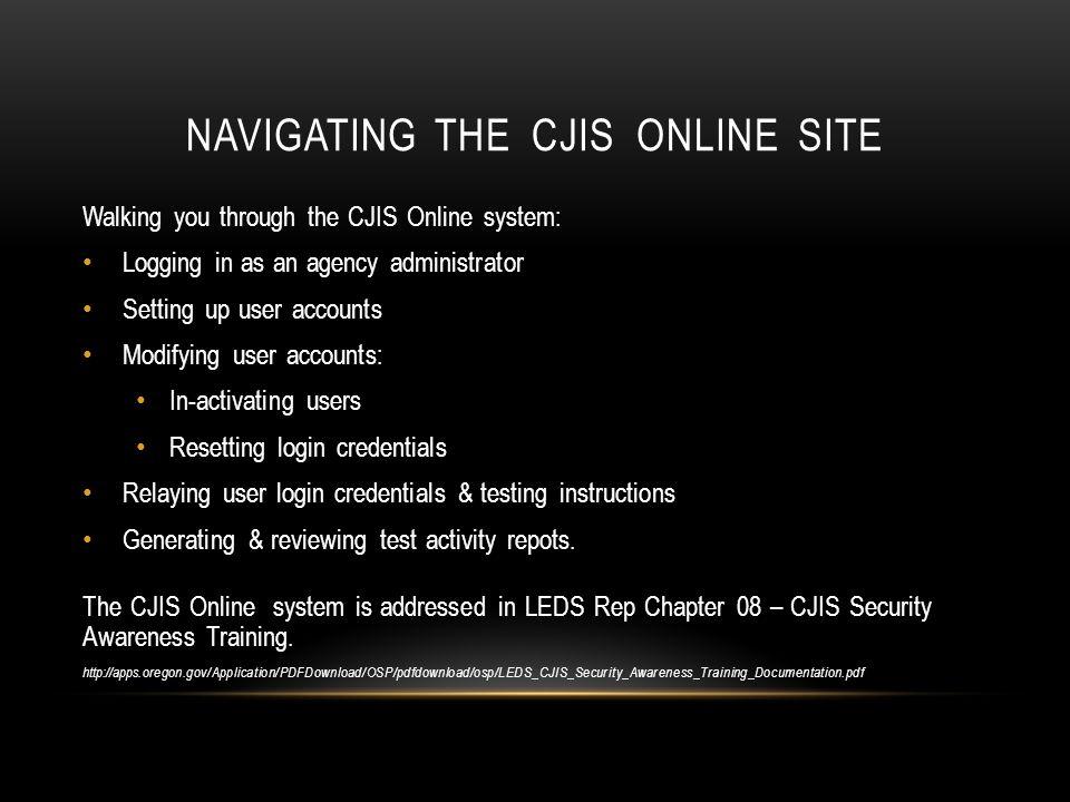 Navigating the CJIS Online site