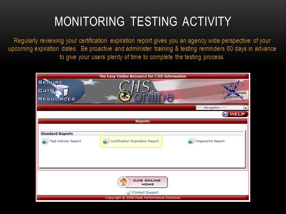 Monitoring testing activity