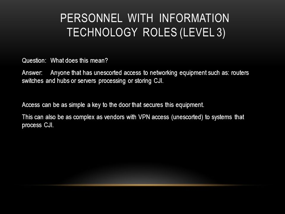 Personnel with Information Technology roles (Level 3)