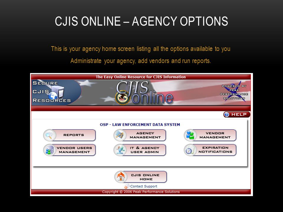 CJIS Online – Agency options