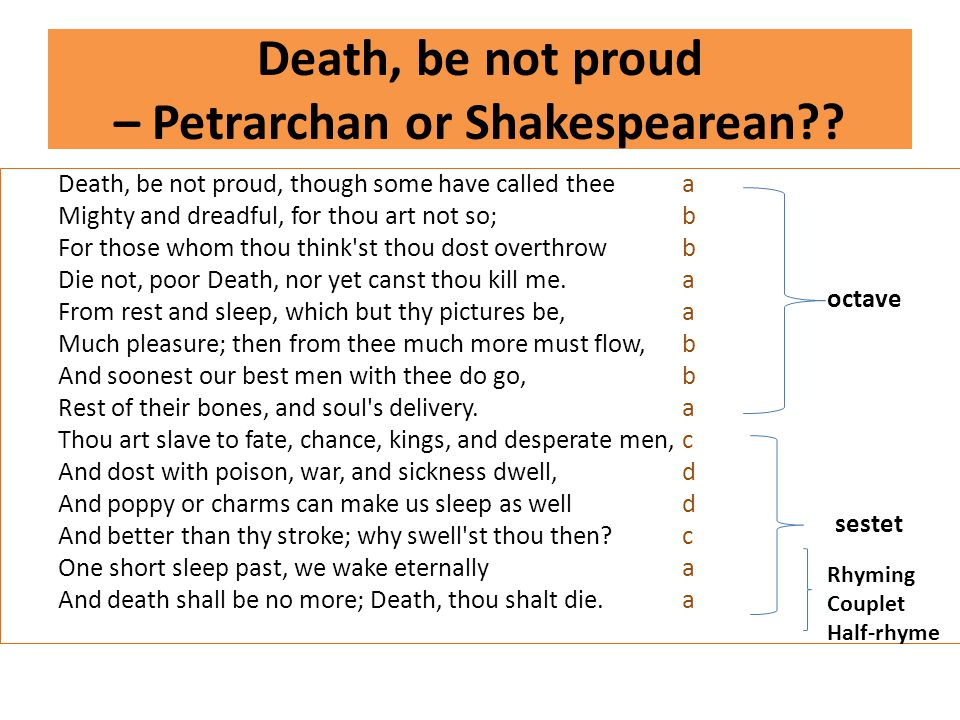 Death, be not proud – Petrarchan or Shakespearean