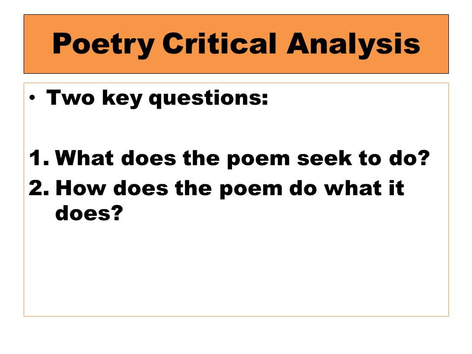 Poetry Critical Analysis