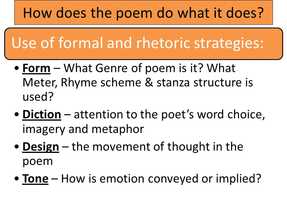 How does the poem do what it does