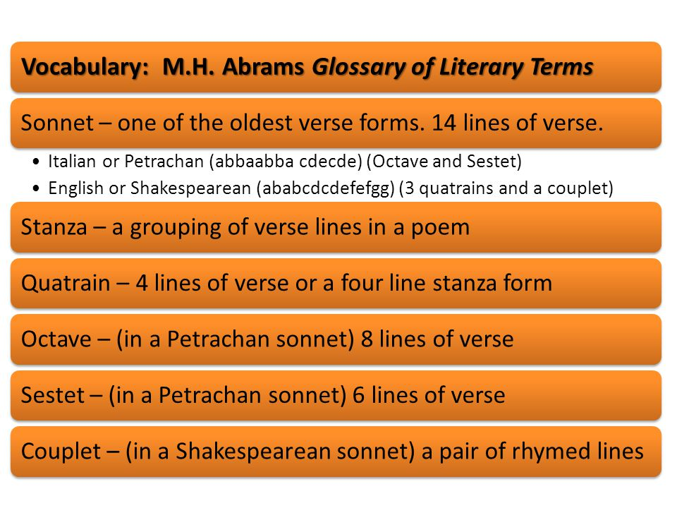 Vocabulary: M.H. Abrams Glossary of Literary Terms
