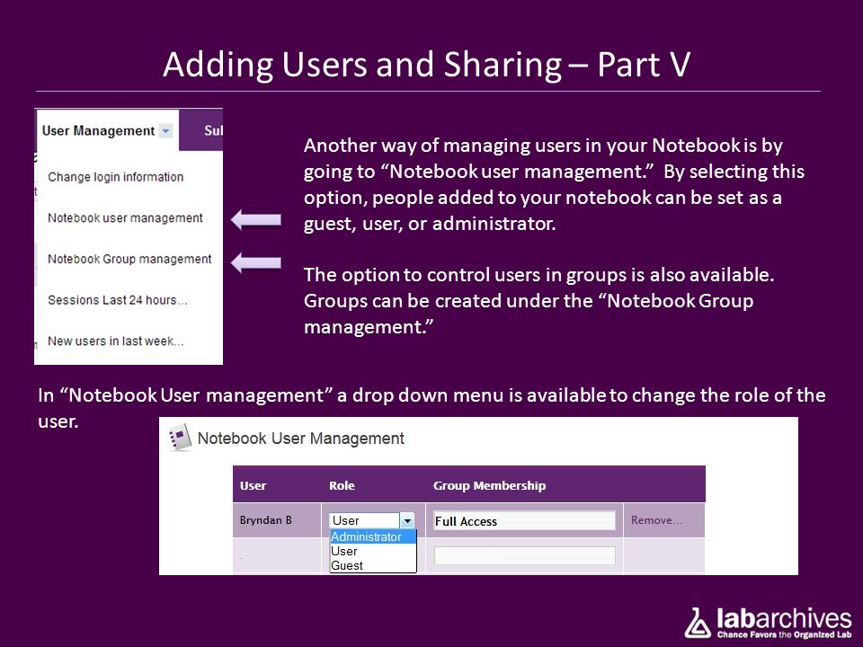 Adding Users and Sharing – Part V