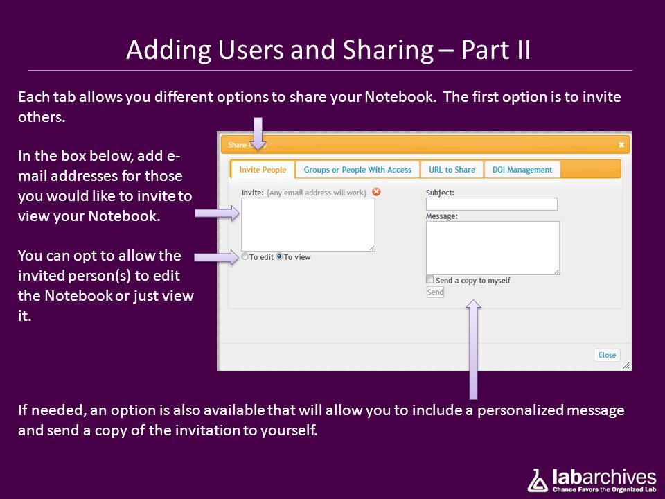Adding Users and Sharing – Part II