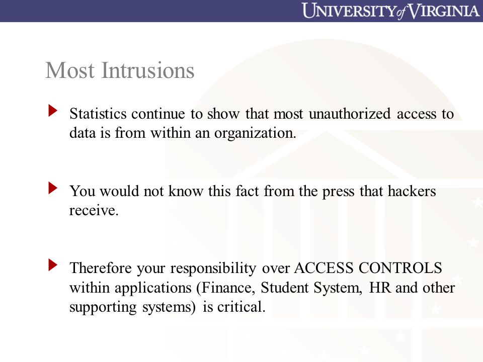 Most Intrusions Statistics continue to show that most unauthorized access to data is from within an organization.