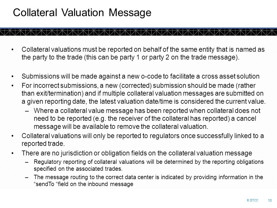Collateral Valuation Message