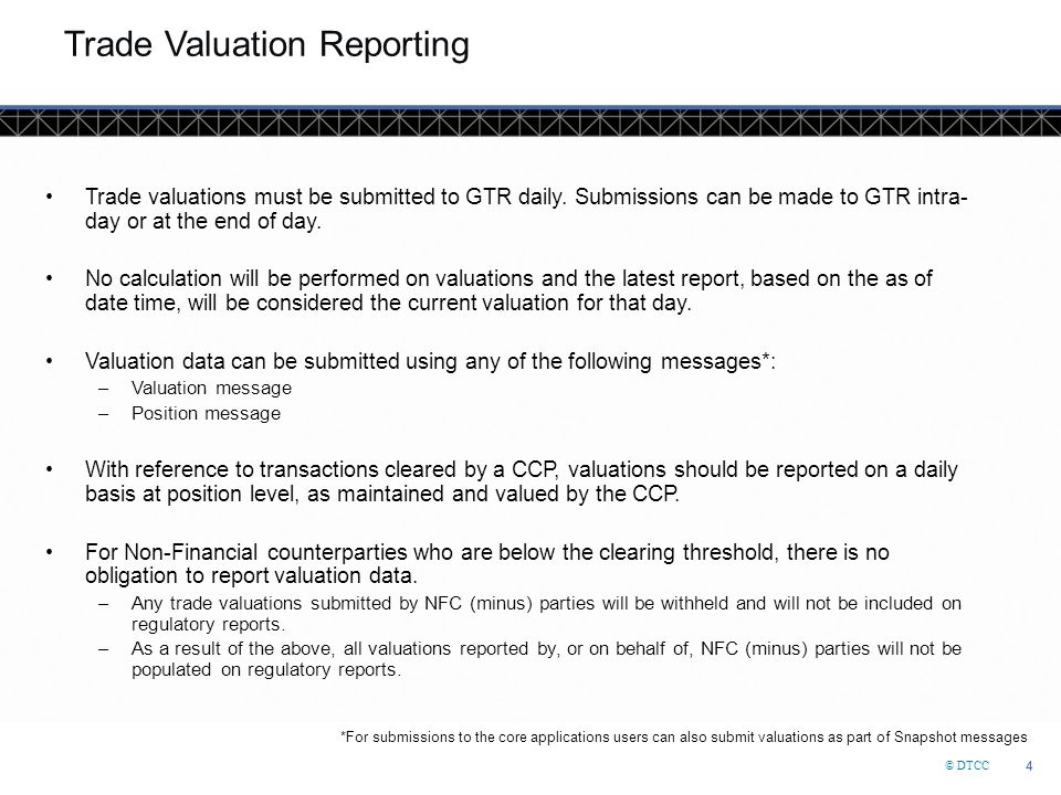 Trade Valuation Reporting