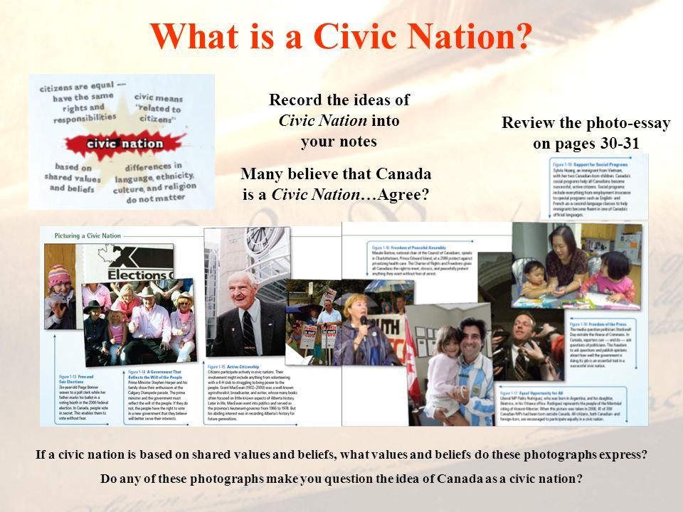 What is a Civic Nation Record the ideas of Civic Nation into your notes. Review the photo-essay on pages 30-31.