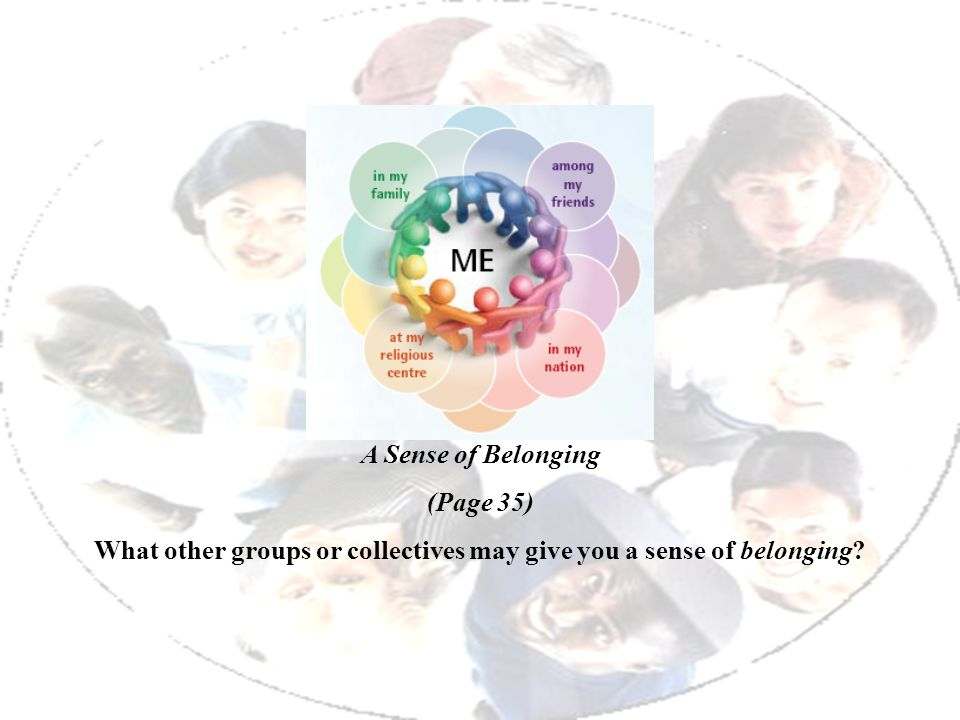 What other groups or collectives may give you a sense of belonging