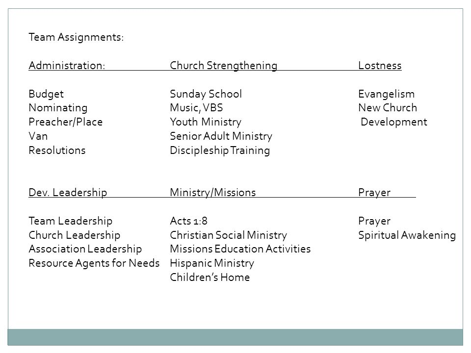 Team Assignments:Administration: Church Strengthening Lostness. Budget Sunday School Evangelism.