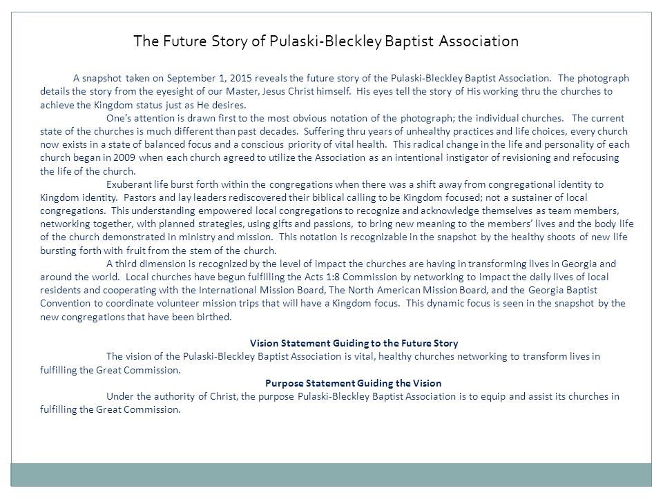 The Future Story of Pulaski-Bleckley Baptist Association