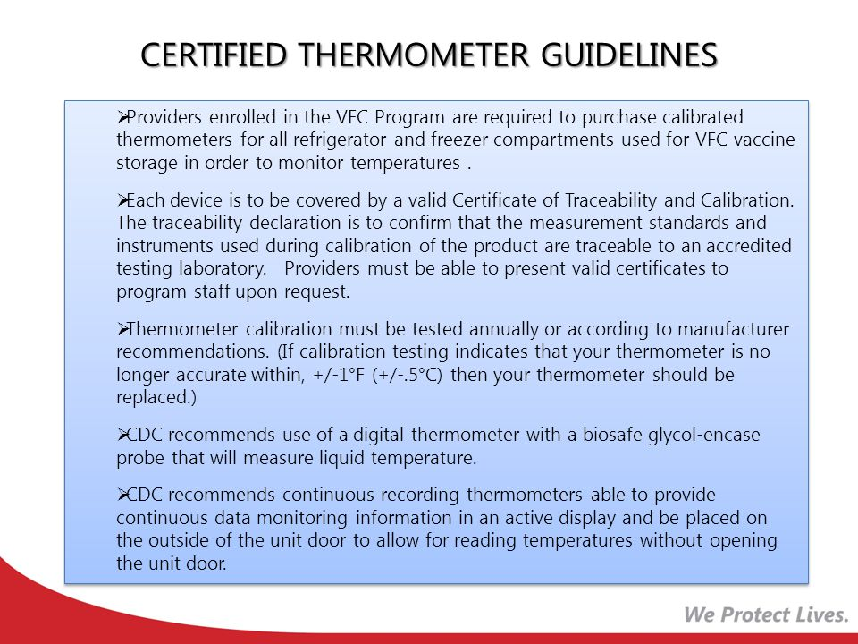 CERTIFIED THERMOMETER GUIDELINES