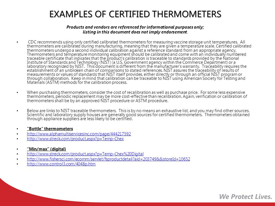 EXAMPLES OF CERTIFIED THERMOMETERS
