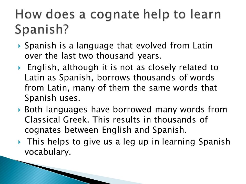 How does a cognate help to learn Spanish