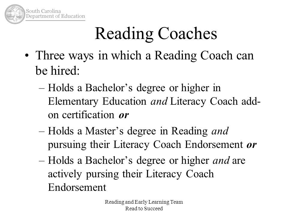 Reading and Early Learning Team Read to Succeed