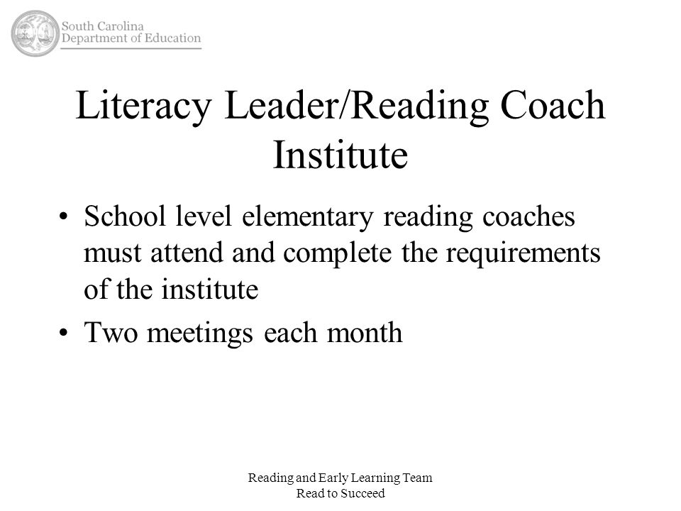 Literacy Leader/Reading Coach Institute