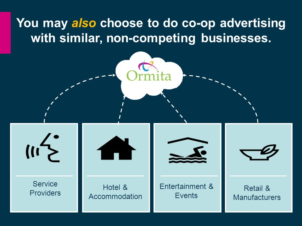 You may also choose to do co-op advertising with similar, non-competing businesses.