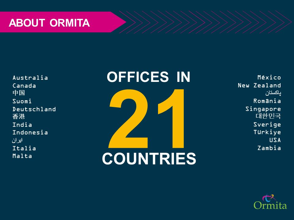 21 COUNTRIES OFFICES IN ABOUT ORMITA Australia Canada 中国 Suomi