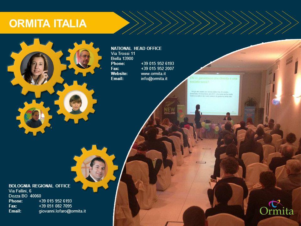 ORMITA ITALIA NATIONAL HEAD OFFICE Via Trossi 11 Biella 13900
