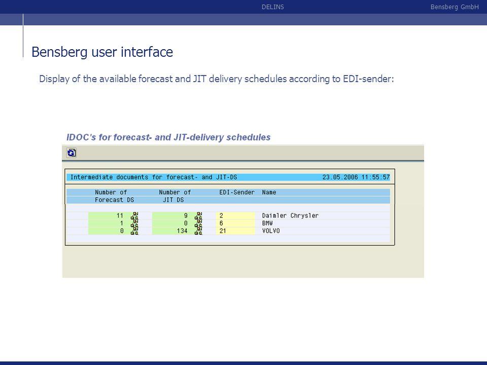 Bensberg user interface