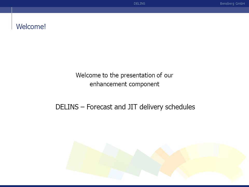 DELINS – Forecast and JIT delivery schedules
